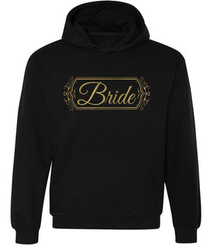 Bride Graphic Hoodie in black and gold