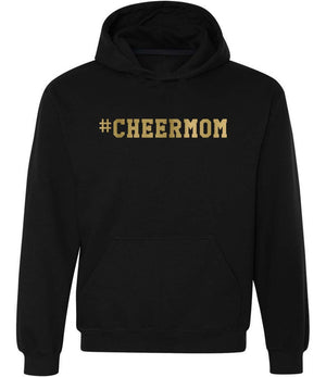#cheermom hoodie in black and gold