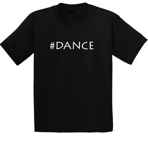 Kids graphic t-shirt #Dance in black and white