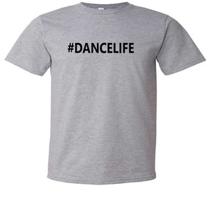 Kids graphic t-shirt #Dancelife in grey and black