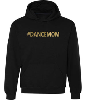 #dancemom graphic hoodie in black and gold