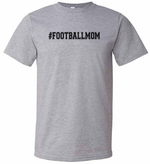 #footballmom graphic t-shirt in grey and black