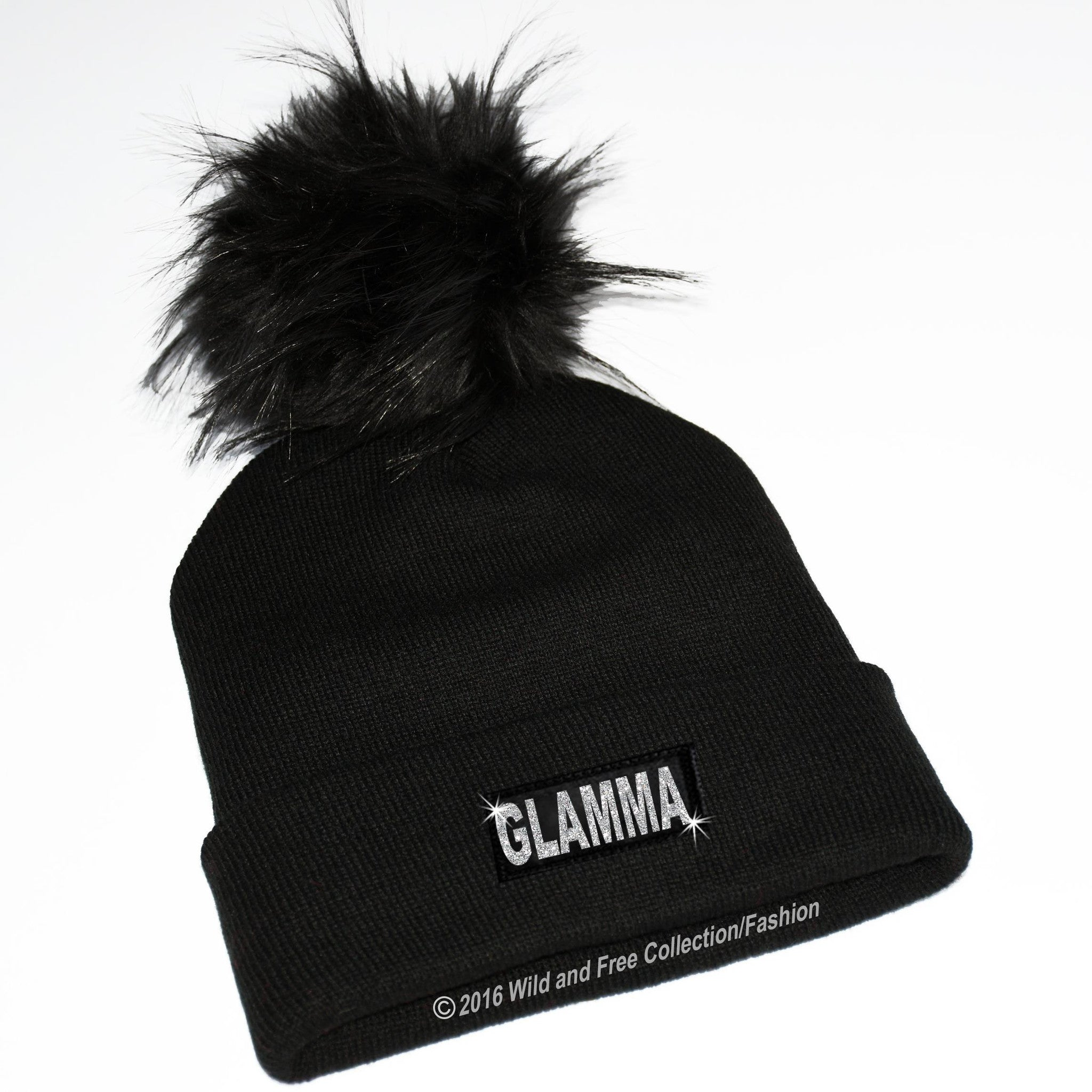 c766ebddd2e glamma beanie hat · beanie hat with large pom pom and graphic glamma ...