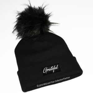Grateful beanie hat with fluffy faux fur pompom