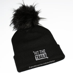 hit the trails toque with faux fur pompom for snowmobilers or cross country skiing