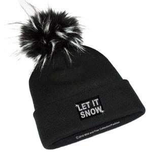 Ladies winter beanie hat with large faux fur pompom and graphic Let it snow