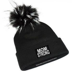 mom strong winter beanie hat with large faux fur pom pom