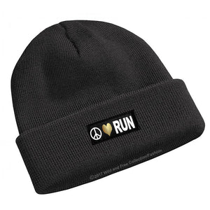 Peace Love Run Beanie Hat for runners in black, white and gold