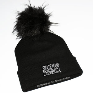 skate hair don't care beanie hat with pom pom