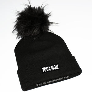 yoga mom winter toque with large fluffy pom pom