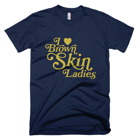 Bon Bon Vie I Love Brown Skin Ladies T-Shirt Navy