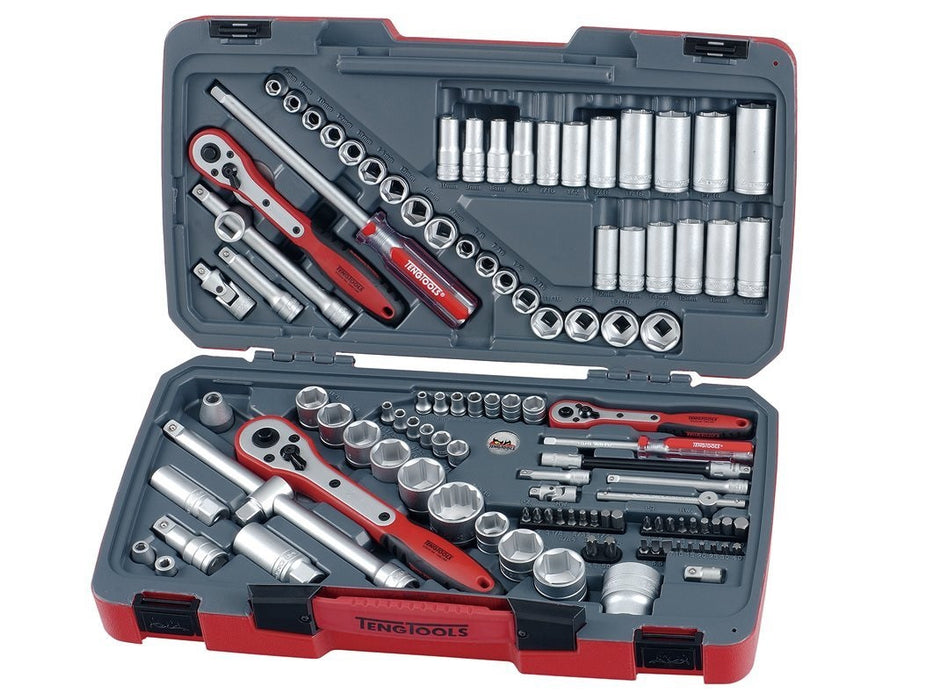 Teng TM111 1/4/ 3/8/ 1/2-inch Tool Set AF/Metric Drive (111 Pieces)
