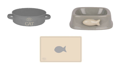 Cat Feeding Watering Bowl Matching Set with Feeding Non Slip - Mat Gift Pack Set - Xtremeautoaccessories
