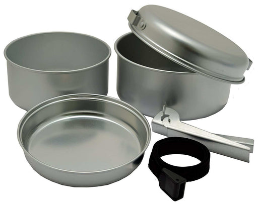 5 Pce Silver Cooking Set Camping Outdoor Frying Pans Lid Handle Nesting Compact - Xtremeautoaccessories