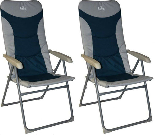 Royal Colonel High Back Padded Camping Fishing Beach Caravan Chair Blue Silve x2 - Xtremeautoaccessories