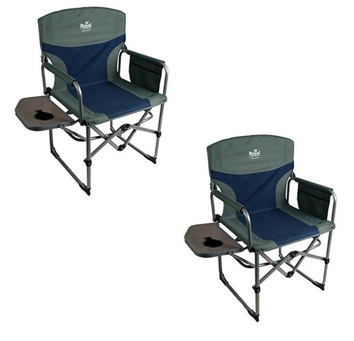 Royal Compact Director's Chair with Table Blue/Silver 355401 Camping Caravan - Xtremeautoaccessories