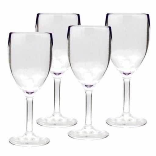 Pack of 4 Clear Plastic Acrylic Wine Glasses For Caravan and Motorhome Camping - Xtremeautoaccessories