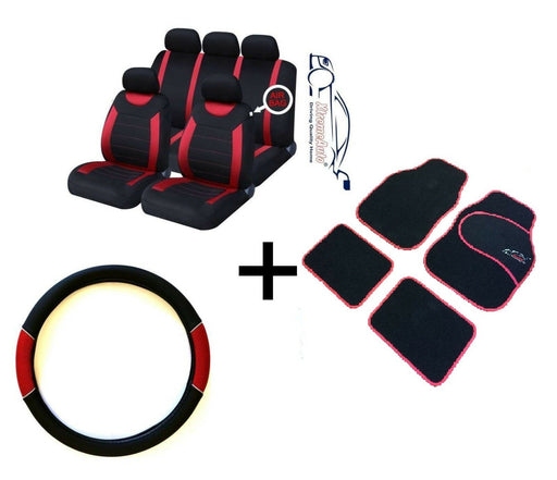 CARNABY RED CAR SPORT SEAT COVERS + MATCHING CARPET MATS & STEERING WHEEL COVER - Xtremeautoaccessories