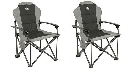 Royal Commander Chair Black/grey - Padded Camping Armchair - Caravan Campervan - Xtremeautoaccessories