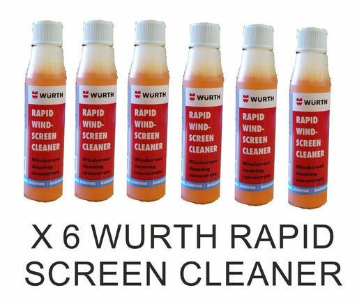 6 x WURTH Rapid Windscreen Cleaner 32ml Concentrate Screen Wash Produces 15-18lt - Xtremeautoaccessories