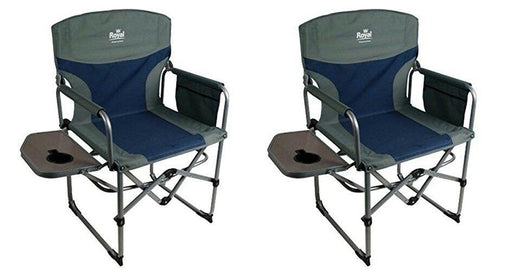 Compact Director's Chair with Table Blue/Silver - Camping Caravan Campervan Tent - Xtremeautoaccessories