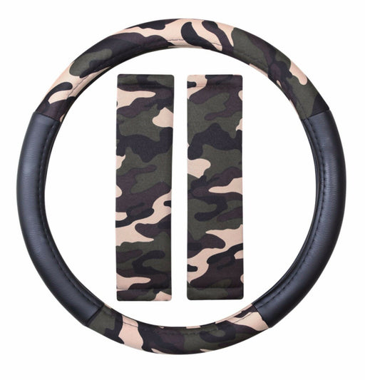 Camouflage High Grip Quality Steering Wheel Cover Protector + Seatbelt Pads - Xtremeautoaccessories