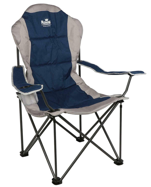 President Folding Lightweight Camping Chair Blue Silver Caravan Camping Outdoor - Xtremeautoaccessories