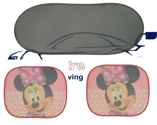 Disney Pixar Side Car Sun shade + Rear Window X2 Minnie Mouse UV Protection - Xtremeautoaccessories