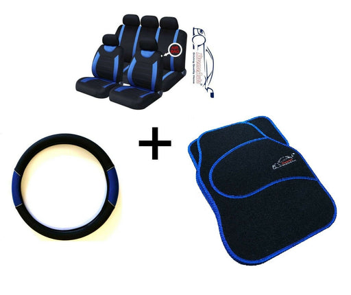 CARNABY BLUE CAR SPORT SEAT COVERS + MATCHING CARPET MATS & STEERING WHEEL COVER - Xtremeautoaccessories