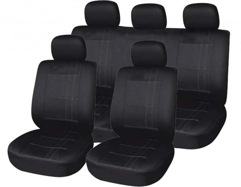 XtremeAuto Universal Fit Black With Pin Strip Car Seat Covers