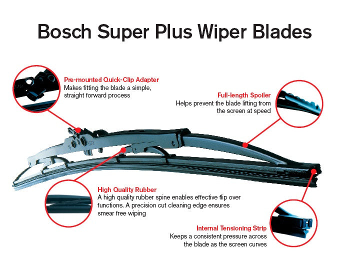 Dacia Logan 2013-2015 Bosch Super+ Replacement Front Screen Windscreen Wiper Blades + Wurth Screen Wash