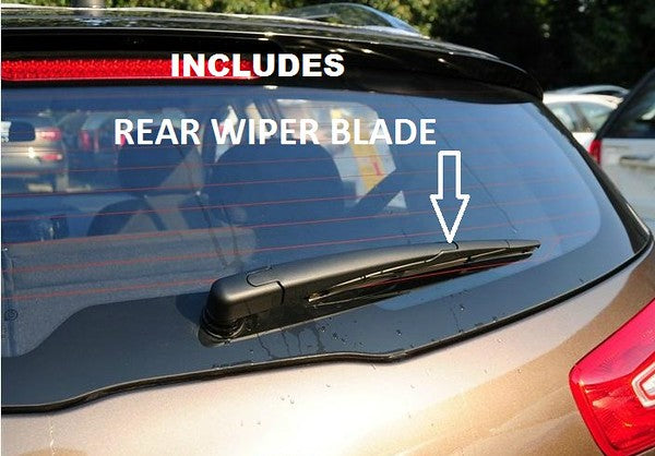 Volkswagen Caddy Mk3 Rear Tailgate Mpv 2004-2007 Xtremeauto® Front/Rear Screen Window Windscreen Replacement Wiper Blades Pair