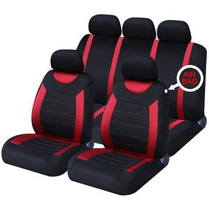 XtremeAuto® Universal 9 PCE Sports Rallye Red / Black Full Set of Seat Covers