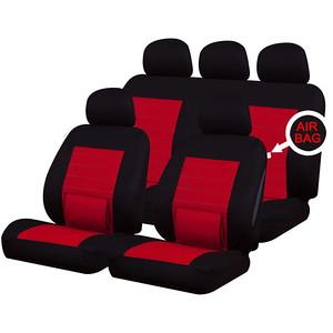 XtremeAuto® Universal 9 PCE Camden Red / Black Full Set of Seat Covers With Lumbar Support - Xtremeautoaccessories