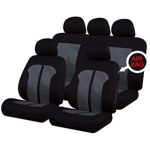 XtremeAuto® Universal 9 PCE Classic Timeless Grey / Black Full Set of Seat Covers - Xtremeautoaccessories