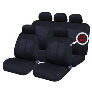 XtremeAuto® Universal 9 PCE Classic Kensington Navy / Black Full Set of Seat Covers - Xtremeautoaccessories