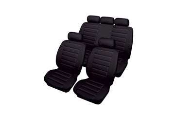 XtremeAuto® Bloomsbury Black Leather Look 8 Piece Car Seat Covers