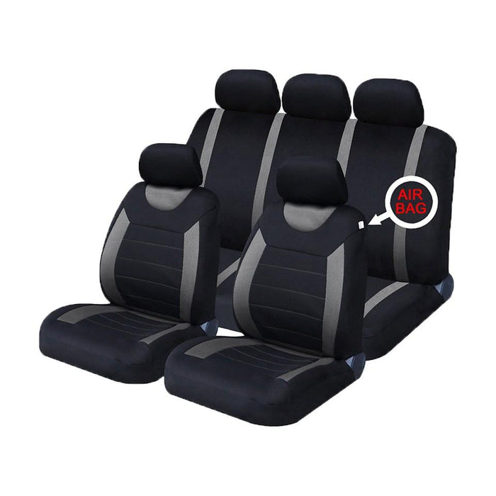 XtremeAuto® Universal 9 PCE Sports Carnaby Grey / Black Full Set of Seat Covers - Xtremeautoaccessories