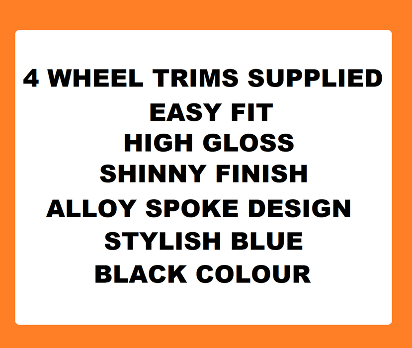 Seat Mii Black Blue Wheel Trims Covers (2011-2016)