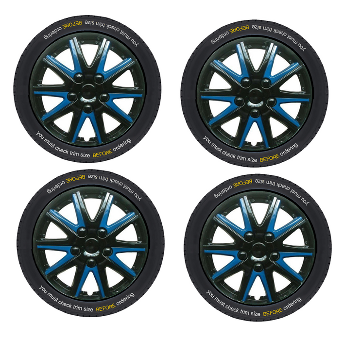 Peugeot Bipper Tepee Black Blue Wheel Trims Covers (2008-2016)