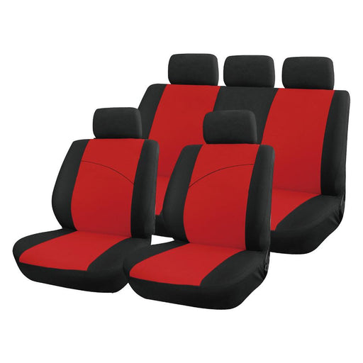 XtremeAuto® Universal Red / Black Style Comfortable Full Set of Seat Covers - Xtremeautoaccessories