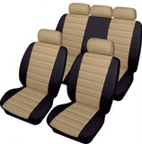 XtremeAuto® Bloomsbury Beige Cream & Black Leather Look 8 Piece Car Seat Covers