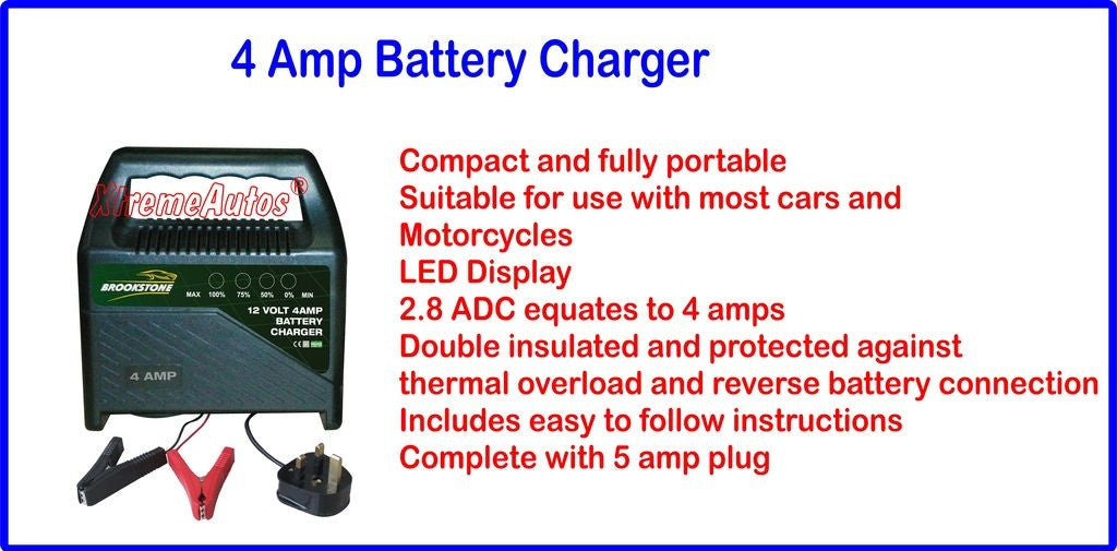 Brookstone Universal 4 amp 12 Volt Car Battery Charger