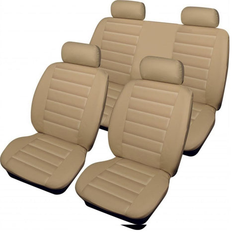 XtremeAuto® Bloomsbury Beige Cream Leather Look 8 Piece Car Seat Covers
