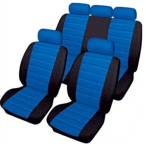 XtremeAuto® Bloomsbury Blue Black Leather Look 8 Piece Car Seat Covers