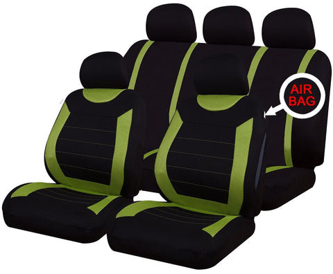 XtremeAuto® 9 PCE Sports Carnaby Green/ Black Full Set of Seat Covers