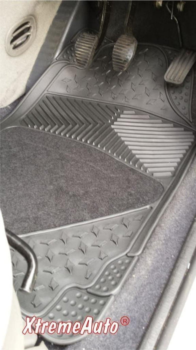 XtremeAuto® Universal Fit Full Set of Front & Rear Carpet / Rubber Car MATS Black