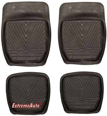 XtremeAuto® Universal Fit Full Set of Front & Rear Deep Tray Rubber Car MATS Black