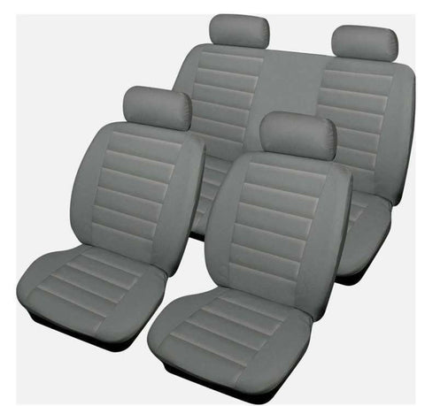 XtremeAuto® Bloomsbury Grey Leather Look 8 Piece Car Seat Covers