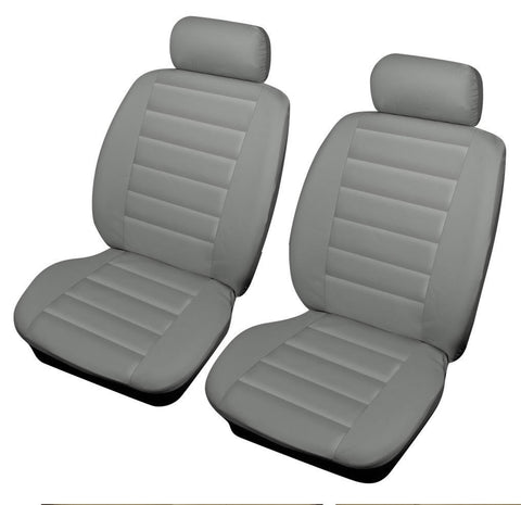 XtremeAuto® Bloomsbury Grey front Leather Look Car Seat Covers